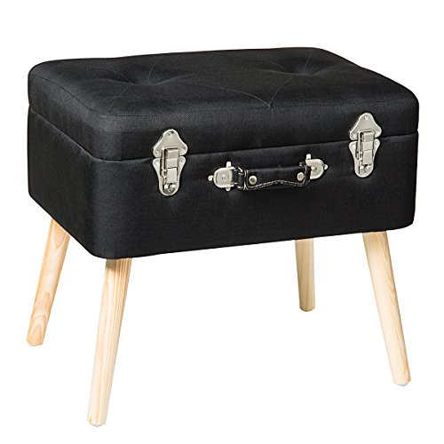 Edencomer Modern Storage Ottomans Container Bench Sturdy Foot Rest Stool Seat Smart Portable Collection Suitcase with Detachable Wooden Legs and Safety Lock for Home Travel, Black
