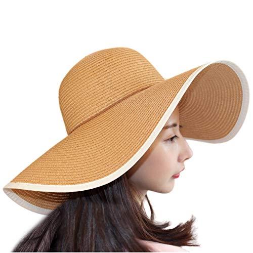 TouchandFeel Women Girls Straw Sun Hat Foldable Floppy Wide Brim Summer Beach Caps (Khaki)
