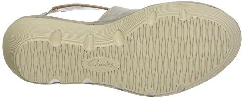 Clarks Clarene Glamor, Sandalias con Cuña para Mujer Gris (Sage Nubuck)