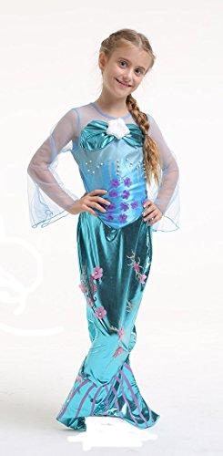 disfraz de sirena - disfraces infantiles - Pequeña Sirena - azul - talla 128 - 6-8 años: Amazon.es: Juguetes y juegos