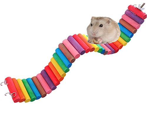 Fashionclubs Pet Hamster Colorful Wooden Flexible Suspension Ladder Bridge Playing Toys (6cmx50cm)