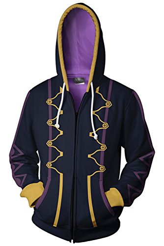 COSTHAT Fire Emblem Awakening Heroes Robin Daraen Cosplay Hoodie Black Zip Up Hooded Coat (Hoodie Emblem Fire)