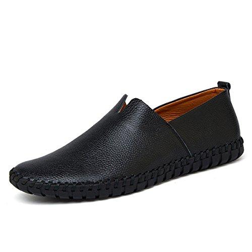 Zapatos Ocasionales De Los Hombres De Cuero CHT Sandalias De Verano Perezoso Black1
