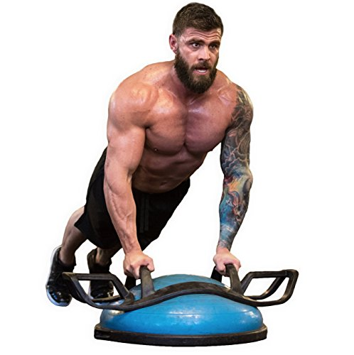 HELM Helmfit The Core Fitness Strength Training System – Multi Grip Push Up and Plank Device for Balance Ball and Stability Ball, Grey