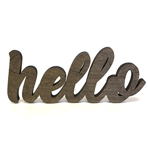 Wood Hello Cutout Sign Made of Birch Plywood Stained Dark Walnut. EntryWay Table Decor