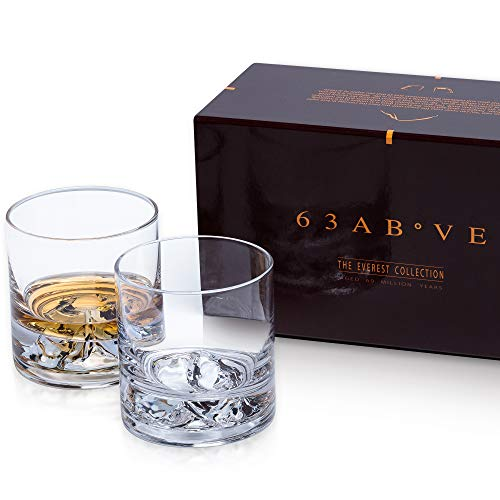 Everest Whiskey Glasses Set of 2, Bourbon Glasses, Scotch Glasses, Ultra Clear Whisky Tumblers, Unique Liquor Glass, Premium Rocks Glass Set by 63Above (Image #6)