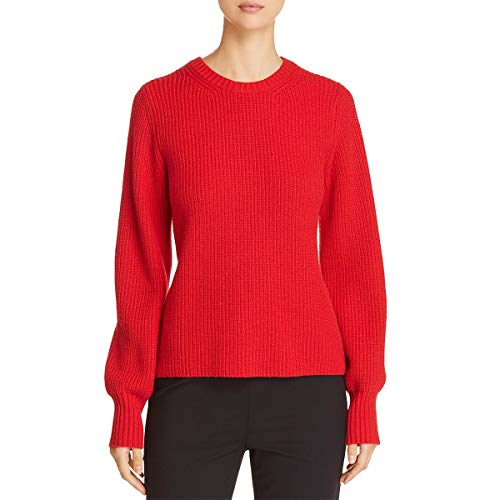Tory Burch Womens Kennedy Wool Blend Ribbed Trim Pullover Sweater Red XS