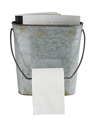 - Creative Co-op DA6815 Magazine & Toilet Paper Wall Tin Bucket