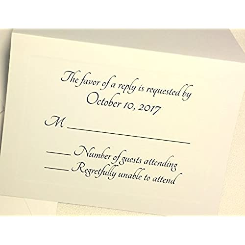 50 custom rsvp response cards with envelopes ivory cards with elegant raised panel edging personalized wedding anniversary party rsvp