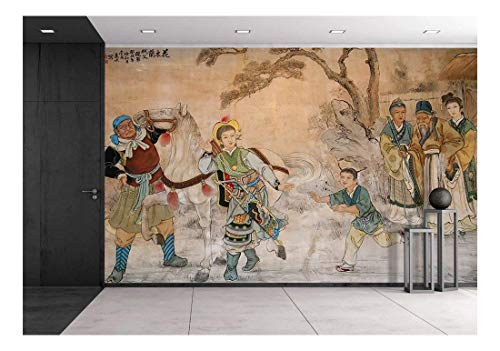 wall26 - Chinese Classic Wall Drawing - Removable Wall Mural   Self-Adhesive Large Wallpaper - 66x96 inches ()