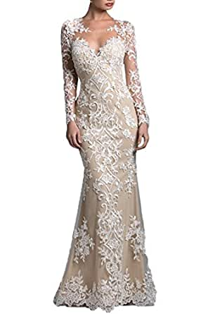 Amazon.com: Honey Qiao Champagne Lace Prom Dresses Long