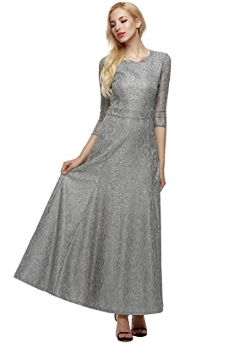Chiffon Vintage Evening Gown - Seewebest Women's Vintage 2/3 Sleeve Evening Formal Gown Cocktail Floral Lace Maxi Dress