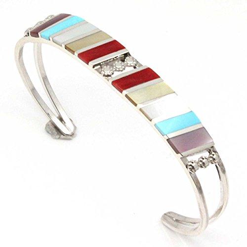 - L7 Enterprises Zuni Multi-Stone Inlay Bracelet by Sheyka