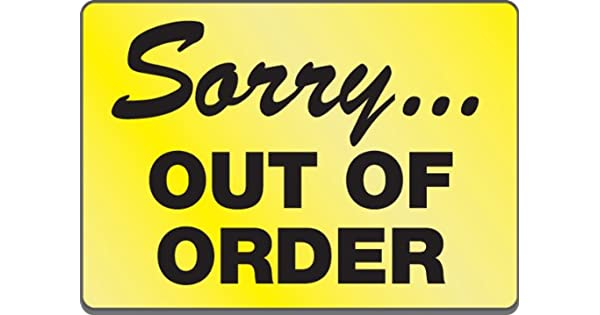 Amazon.com: Cartel magnético Sorry... Out of Order ...