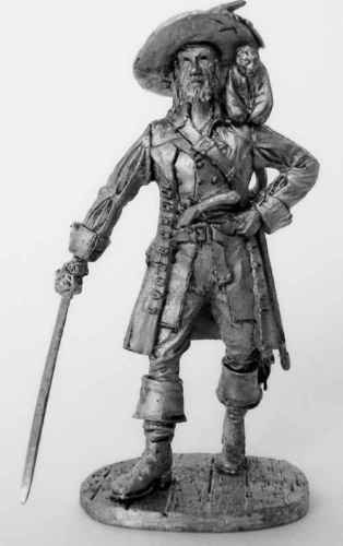 TIN HISTORY FIGURES RENAISSANCE PIRATE HECTOR BARBOSSA WITH MONKEY 65MM -