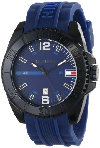 UPC 885997120449, Tommy Hilfiger Men's 1791040 Black Resin Watch with Blue Silicone Band