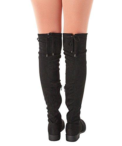 RF RAUM DER MODE Frauen Overknee Low Block Heel Pull Stretch-Stiefel - Erhältlich in mittleren und breiten Kalb Neue schwarze Su-1
