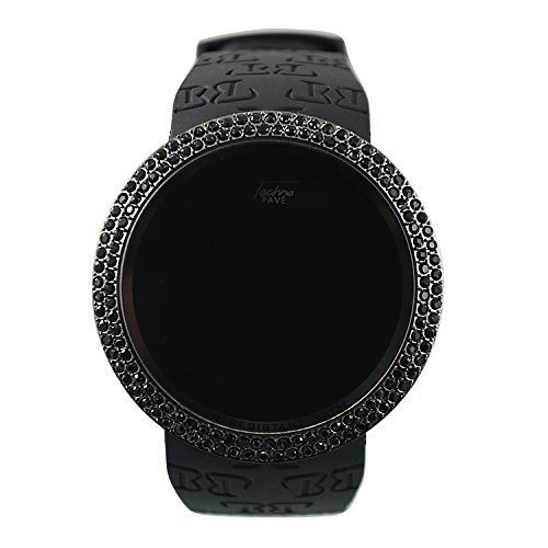 Techno Pave Iced Out Bling Lab Diamond Black on Black Digital Touch Screen Sports Smart Watch with Rubber Silicone - Black Watch Out Iced