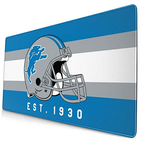 Jacoci Custom Detroit Lions Gaming Mouse Pad Large PU Leather Base Desk Mat with Non-Slip Rubber for Office/Home