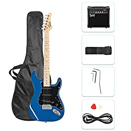 GLARRY Full Size Electric Guitar for Music Lover Beginner with 20W Amp and Accessories Pack Guitar Bag (Blue)