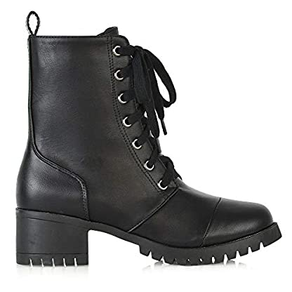ESSEX GLAM Womens Low Heel Platform Ankle Boots Ladies Cleated Sole Combat Lace Up Shoes Size 3-8 2