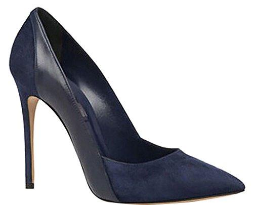 Calaier Womens Jtabk Pointed-Toe 12CM Stiletto Slip-on Pumps Shoes, Blue, 5.5 B(M) US