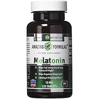 Amazing Nutrition Melatonin – 10 Mg Tablets - Best Choice of Natural Sleep Aid Supplement – Promotes Calming and Relaxing Effect - 120 Tablets Per Bottle- ...