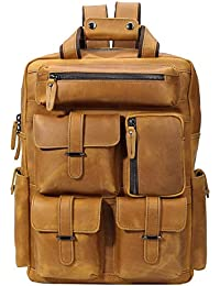 Full Grain Cowhide Leather Multi Pockets 16 Inch Laptop Backpack Travel Bag
