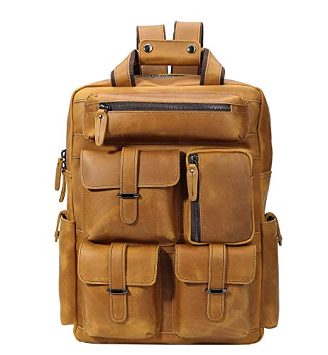 (Texbo Full Grain Cowhide Leather Multi Pockets 16 Inch Laptop Backpack Travel Bag)