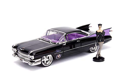 """Jada Toys DC Comics Bombshells Catwoman & 1959 Cadillac Die-cast Car, 1:24 Scale Vehicle & 2.75"""" Collectible Figurine 100% Metal"""