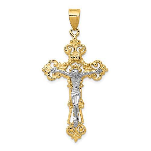 FB Jewels Solid 14K Yellow Gold Two-Tone Inri Fleur De Lis Crucifix Pendant ()
