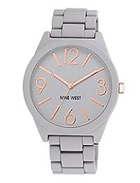 Nine West - Reloj de pulsera de caucho gris mate NW / 1678GYRG para mujer