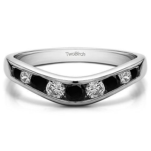 (Black and White CZ Graduated Contour Band in Sterling Silver(0.42Ct) Size 3 to 15 in 1/4 Size Interval)
