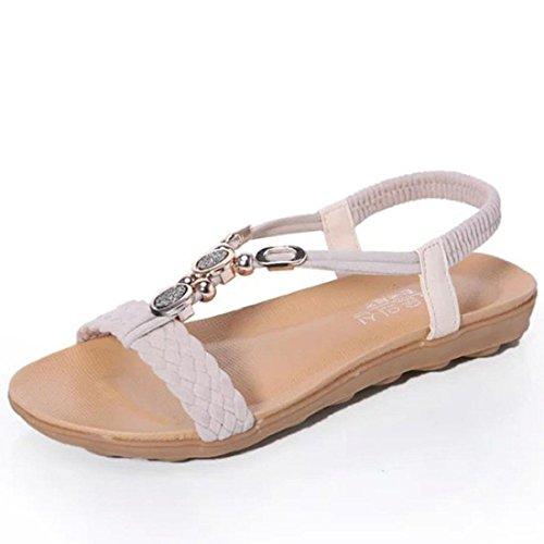 Tongshi Mujeres del verano de las sandalias planas para las mujeres ocasionales de la manera sandalias de playa zapatos Beige