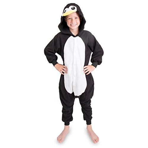 Emolly Fashion Kids Animal Penguin Pajama Onesie - Soft and Comfortable with Pockets (10, Blk)