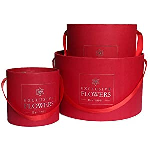 Gift Box Round Red Silver Elegant Flower Box Wedding Decor 3 Sizes Pack (S/M/L) Handmade in Europe 4 available colors ExclusiveFlowers 65