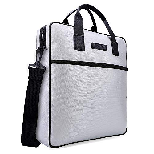 Fireproof Document Bag, Business Crossbody Shoulder Messenger Bag for Important File, 13 inch Laptop Tote for Fire HD 10 MacBook Air Kindle iPad Surface Pro (Silver)