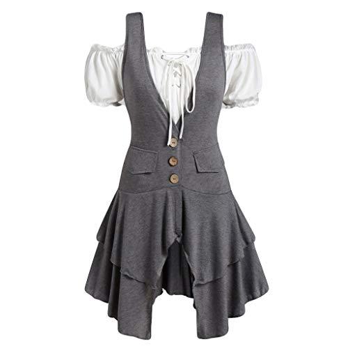 Women Fashion Plus Size Coat Blouse Button Pocket Layered Tank Top Set Gray