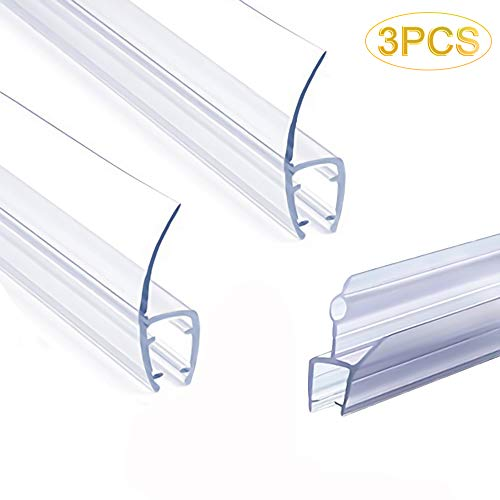 "Frameless Shower Door Seal Strip, Weather Stripping Seal Sweep with Drip Rail for 3/8-Inch Glass, 39""Length J+ 2PCS x 39"" Length H-Type (3/8""(10mm), H+J-Type)"