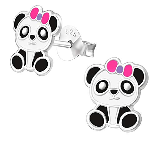 Hypoallergenic Sterling Silver Baby Panda with Bow Stud Earrings for Kids (Pink/Purple)