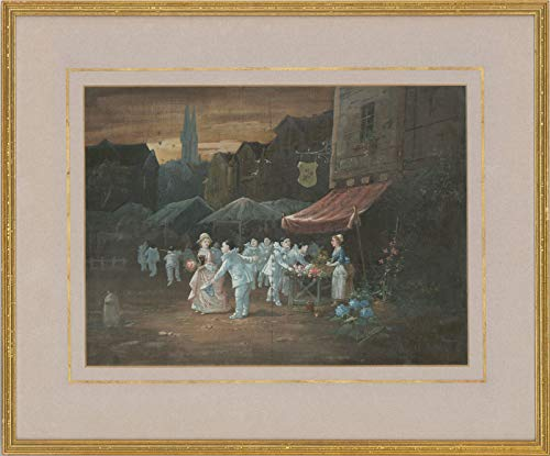 Van Garden - Signed & Framed Early 20th Century Gouache, The Flower Market