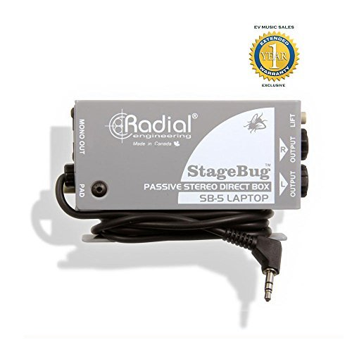 Radial Engineering StageBug SB-5 Laptop Passive Stereo Direct Box with 1 Year Free Extended Warranty