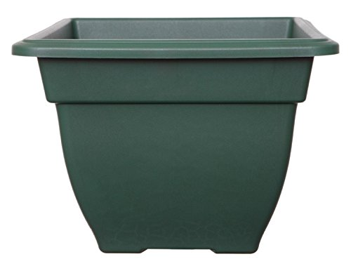 Large 38cm Square Bell Plant Pot Planters Plastic Green Colour Garden Pot Whitefurze
