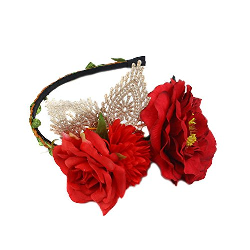 Women Cat Ears Rose Flower Daisy Flower Sunflower Crown Wreath Bridal Wedding Headpiece Festivals Hair Band Headband Hairband Costume Cosplay Hair Hoop (AA Lace cat Ear (Daisy Flower Headband Costume)