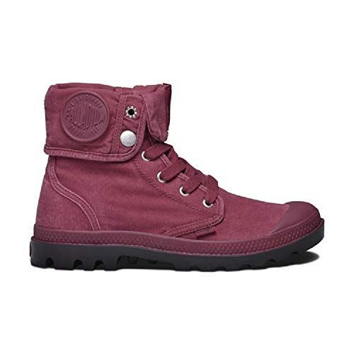 Palladium Baggy Canvas Women's Lace Up Boots in Pomegranate/After Dark Pink