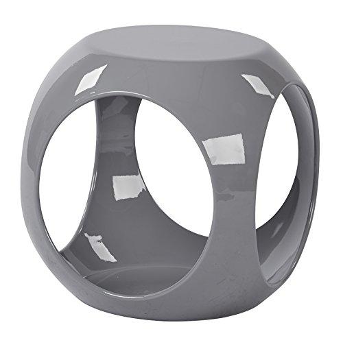 AVE SIX Slick High Gloss Finish Cube Occasional Table, Grey - Slick Cube Occasional Table