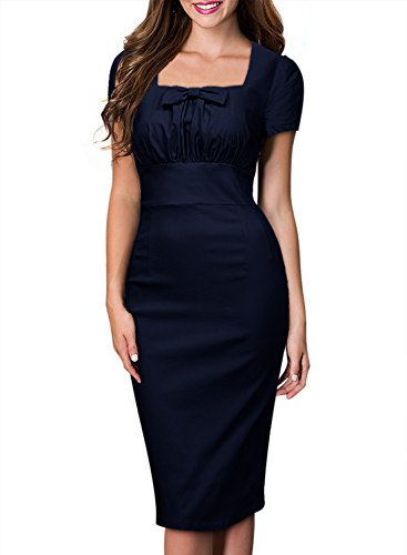 Sweetmeet Women's Square Neck Elegant Office Work Evening Bodycon Pencil Dresses S Navy Blue