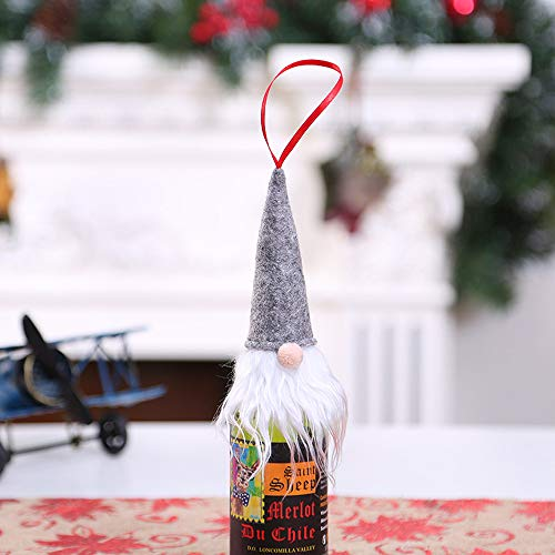 Chezaa Christmas Xmas Home Ornament Gift Bags, Wine Bottle Cover Set Santa Cap Tabletop Decoration Home Holiday Birthday Party Bar Restaurant Favor (Gray)