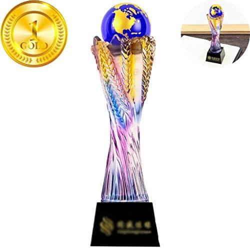 トロフィー,優勝カップ トロフィー クリスタルトロフィーサッカーバスケットボールゴルフ小麦の耳の形をしたメダル絶妙な贈り物無料のレタリングを実行する創造的な芸術団 (Color : Purple, Size : 30*8cm)