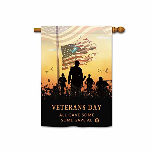 (Hamory Thank You Military Service Patriotic House Flag Memorial Veterans Day US American Flag Decorative Yard Banner 28x40 Inch Printed Double)